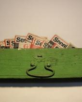 Cassetto in legno verde