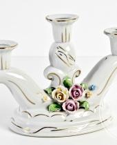 Portacandele in porcellana Capodimonte