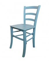 Sedia in legno azzurra decapè