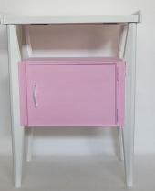 Comodino decapè rosa e bianco