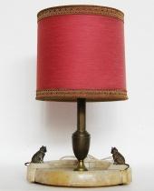 Lampada con base in marmo e gatti in bronzo