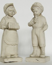 Coppia statuine in gesso fanciulli
