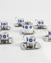 Servizio da caffé Inoxriv in ceramica decorata e acciaio inox