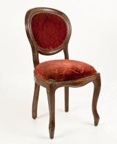 Set di quattro sedie in velluto rosso