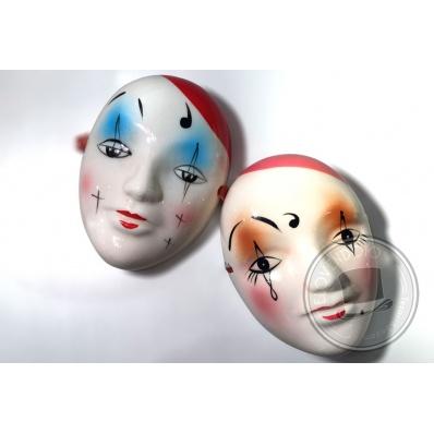 Maschere in ceramica Pierrot e Pierrette