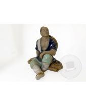 Statuetta cinese in ceramica smaltata mudman