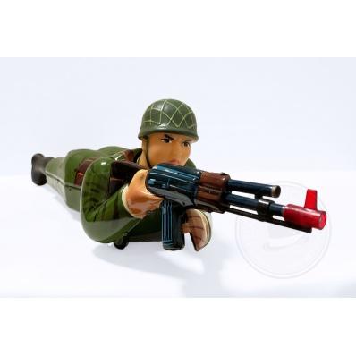 Giocattolo in latta Soldato Machine Gun Drill