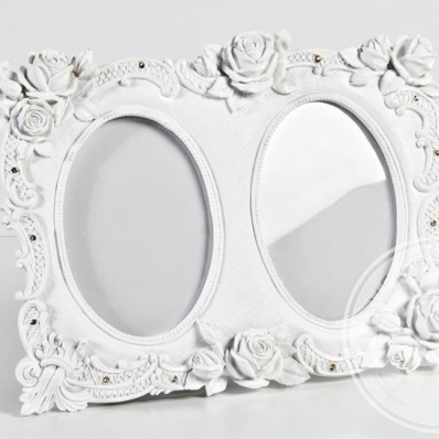 Portafoto bianco doppio