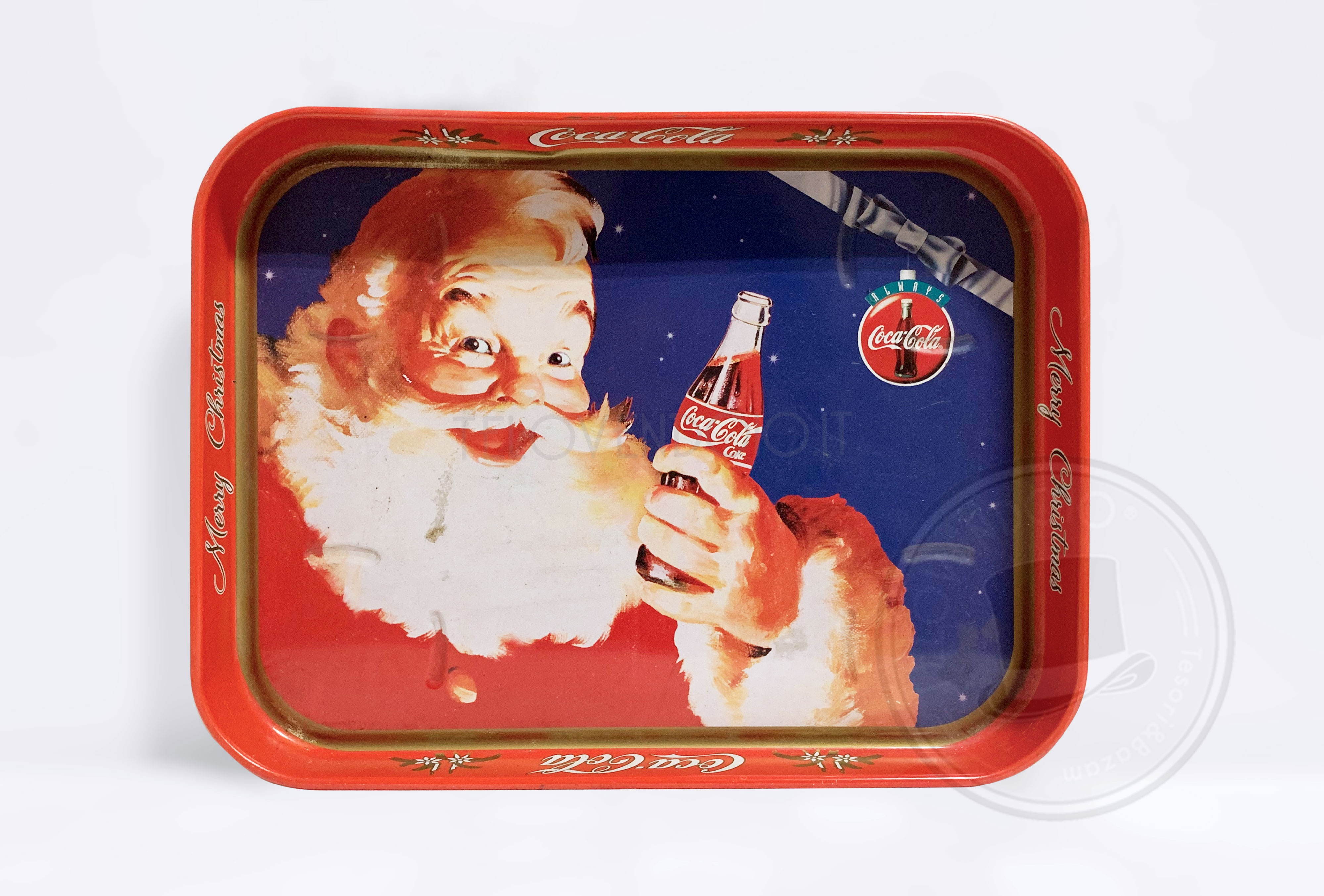 Coca Cola Babbo Natale.Vassoio Coca Cola Merry Christmas Con Babbo Natale Telovendoio